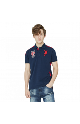 REGULAR FIT JAPAN TEAM POLO TEE - NAVY