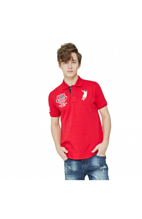 REGULAR FIT US TEAM POLO TEE - RED