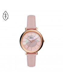 JACQUELINE SOLAR-POWERED PINK LEATHER WATCH