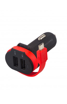 THECOOPIDEA TWISTER DUAL USB 3.4A CAR CHARGER W/ TYPE C..