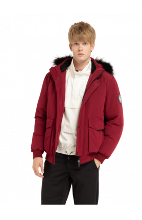 MEN POLYESTER DOWN PARKA 5 DEGREES AND BELOW - WINE