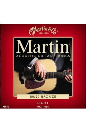 MARTIN M140  ACOUSTIC GUITAR STRINGS LIGHT, 80/20 BRONZ..